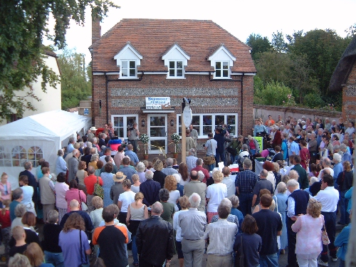 The start of the formal opening of the Village Post Office on 7th September 2002